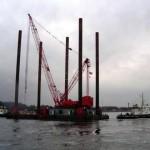 Ocean platform legs on barge