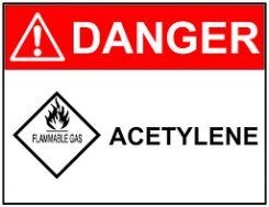Oxy acetylene welding danger sign