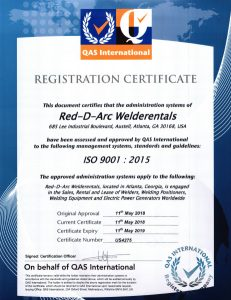 Red-D-Arc ISO 9000 2015 Certification